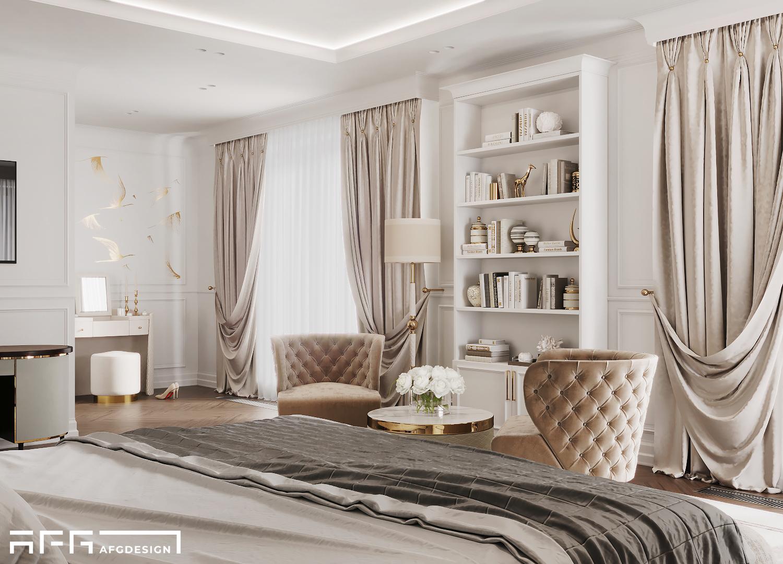 Дизайн интерьера спальни в стиле современная классика