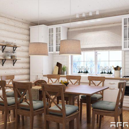 Дизайн интерьера дома из бруса в скандинавском стиле