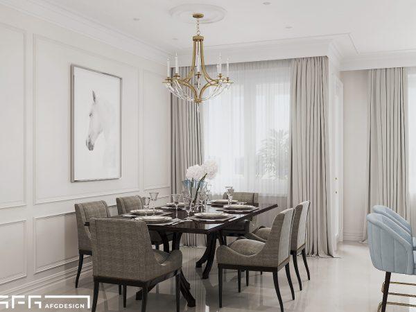Дизайн интерьера квартиры в стиле современная классика в ЖК Миракс Парк